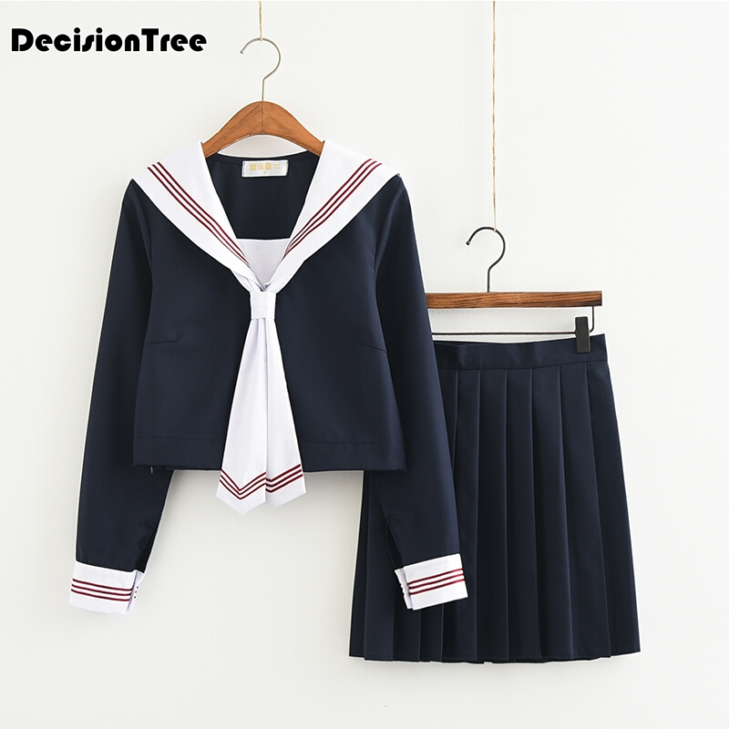 2019 girls <font><b>japanese</b></font> <font><b>school</b></font> <font><b>uniforms</b></font> for jk sailor long sleeve t shirt preppy style college <font><b>sexy</b></font> suit skirt female cosplay image