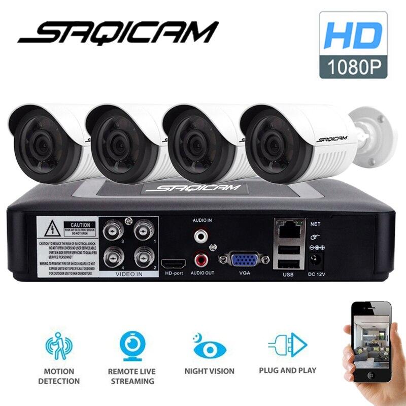 bilder für Saqicam 4CH AHDH Sicherheit Kamera-system 1080N DVR 4 STÜCKE 1080 P Cctv-kamera Im Freien IR Nachtsicht Home Video Surveillance Kit