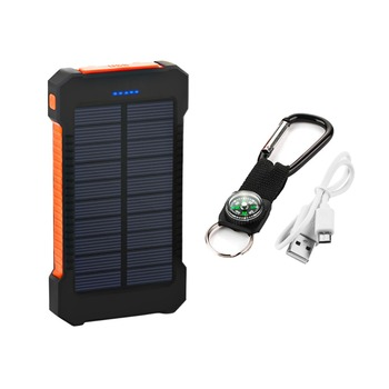 Top Sell Solar Power Bank Waterproof 20000mAh Solar Charger 2 USB Ports External Battery Charger Phone Poverbank with LED Light 4