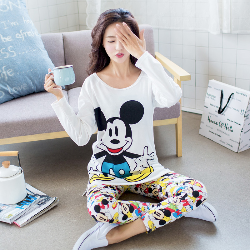 Foply 2019 Winter Spring Women Pajamas Animal Cartoon Print Pajama Sets Cotton Rayon Long Sleeve Korean Loose Sleepwear M-XL