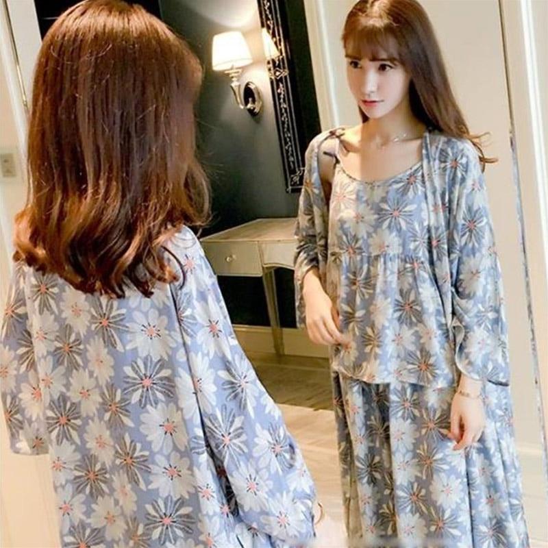 KISBINI 3PCS Women   Pajamas     Sets   Spring Autumn Sleepwear Flower Print Japanese Style Woman Clothes Homewear Night Gown Robe