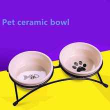 New Double Ceramics Pet Bowls for Dog Cat Puppy Non-Slip Food Water Dual-use Feeding Dish Supplies Pet Dog Feeder  Pet Products 2019 dog puppy cat tablet medicine capsules liquid feeding tool pet pusher shooter pills feeder pet supplies