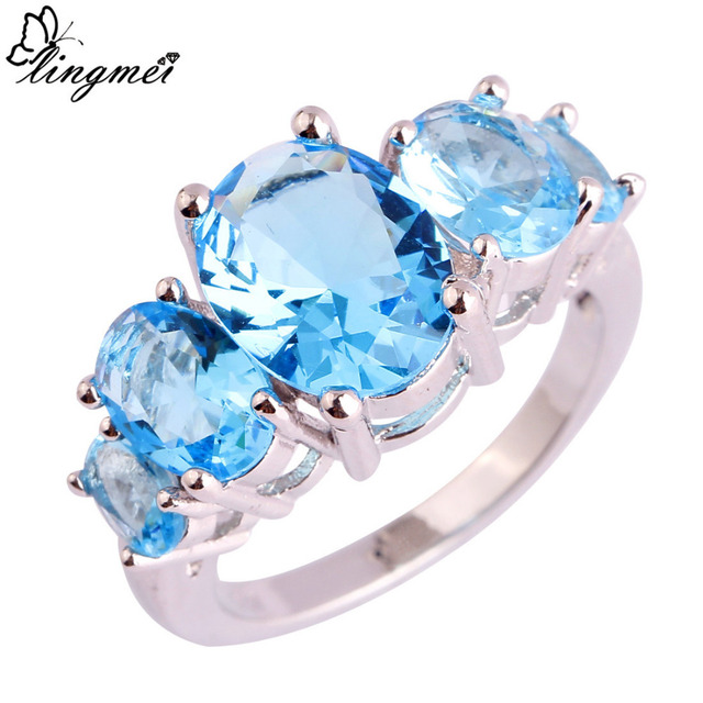 lingmei Wholesale Dazzling Blue CZ Silver Ring Size 6 7 8 9 10 11 12 13 For Wome