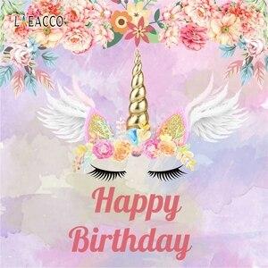 Image 5 - Laeacco 花羽ユニコーンベビー誕生日 photophone 写真撮影背景パーソナライズされた写真の背景の写真