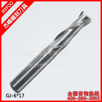 6*17 Two Flutes Spiral End Mill, Tungsten Steel Carbide CNC Router Bits, Engraving Tools