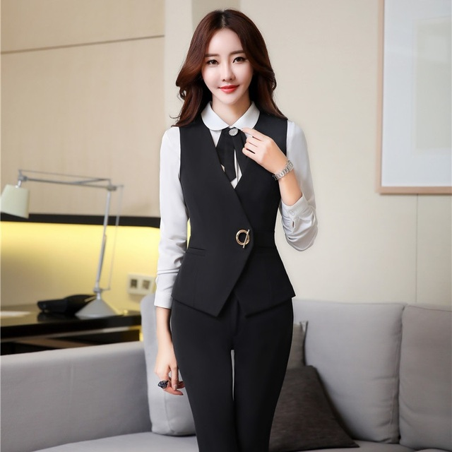 dbd8ecdf7f491 Spring Autumn Slim Fashion Formal Pantsuits OL Styles Vest Coat With Pants  For Ladies Women Business Outfits Plus Size Black-in Pant Suits from ...