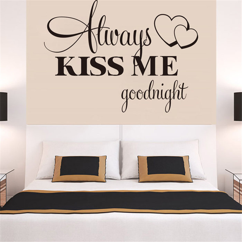 Hot Always Kiss Me Goodnight Wall Sticker Quote Decal Removable