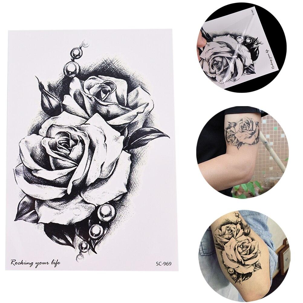 1 Piece Temporary Tattoo Sticker Water Transfer Wing: Aliexpress.com : Buy 1 Sheet Women Rose Flower Decal