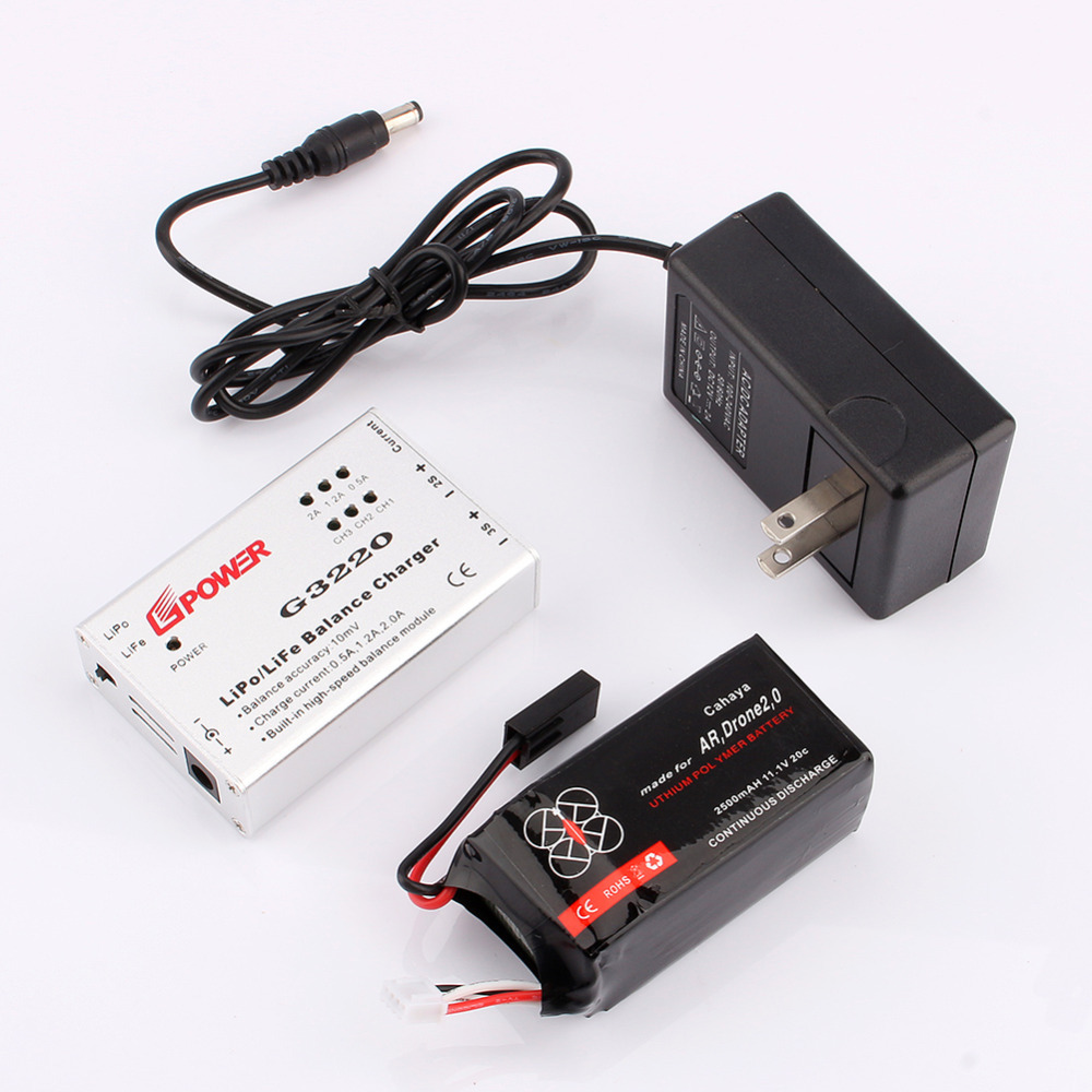 2500mAh 20C Li-po Battery For Parrot Ar Drone 2.0/1.0 Portable Li Battery Speed Balance Charger Adapter G3220 BATTERY+CHARGER