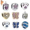 Auténtica Plata de Ley 925 Perlas de Joyería Crystal Paw Print Pet Biberón Encantos Fit Pandora Original Pulsera Brazalete