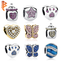 Authentic 925 Sterling Silver Jewelry Crystal Pet Paw Print Beads Feeding Bottle Charms Fit Original Pandora Bracelet Bangle