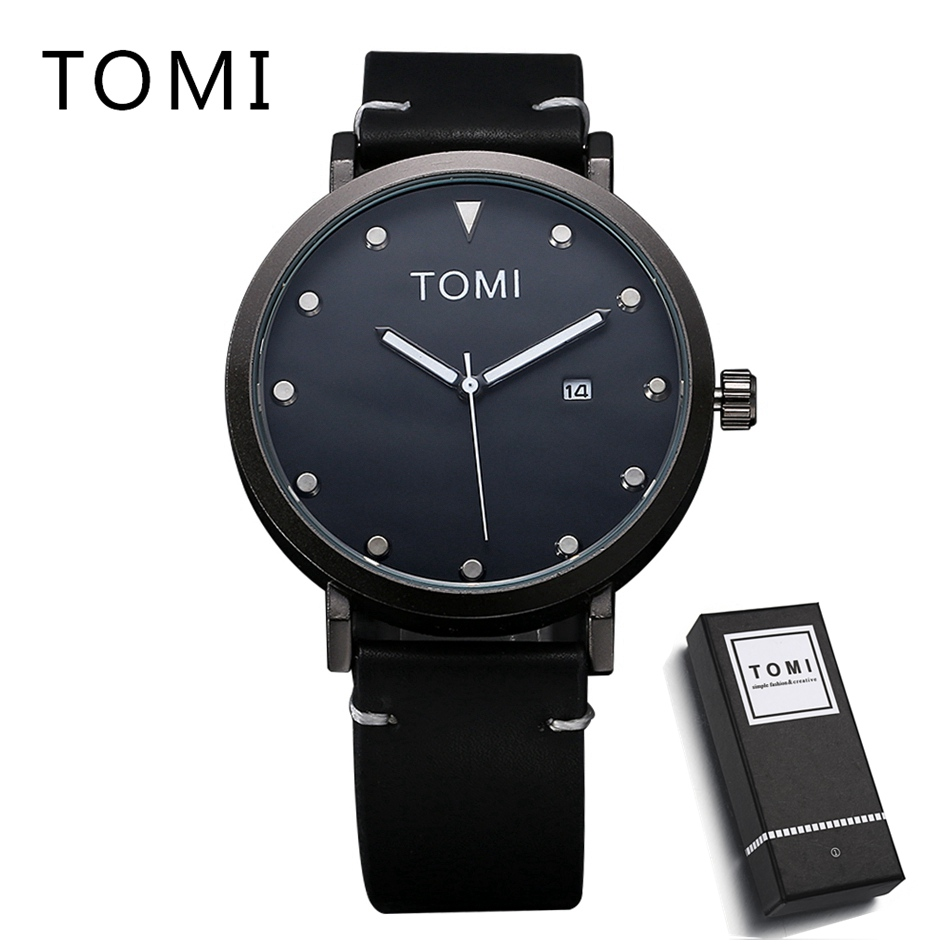 TOMI Fashion Men Watch Top Brand Luxury PU Leather Strap Quartz Women Watches Ladies Dress Wristwatch Clock Round Quartz Watch onlyou men s watch women unique fashion leisure quartz watches band brown watch male clock ladies dress wristwatch black men