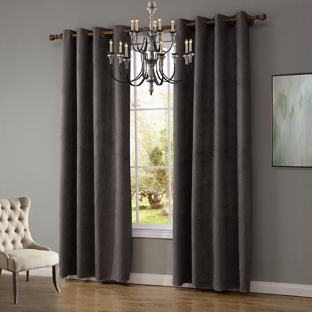 1 Piece Suede Fabric Gray Curtains For Living Room Semi Blackout