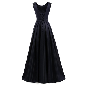 Image 3 - ANGELSBRIDEP Satin Prom Kleider 2020 Vestidos De Fiesta Mode A line Bodenlangen Perlen Formalen Frauen Party Kleid Gala Jurken