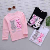 Fille t-shirt enfants dessin animé chat paillettes t-shirts printemps automne couleur changeante chemises t-shirt Enfant Garcon enfants vêtements