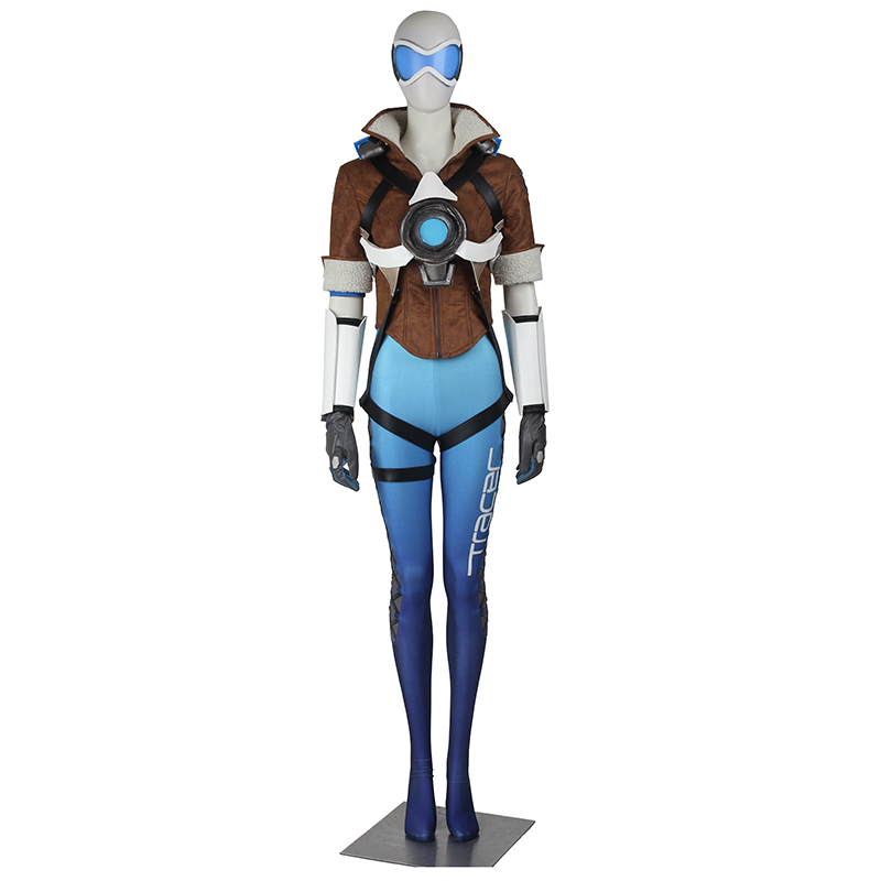 Tracer Cosplay Costume Lena Oxton Cosplay Clothing Hot Game Superhero Halloween Costumes for Adult Female Royal Blue Version
