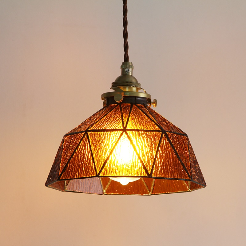 Nostaglia Hanging Lamp with Rustic Glass Shade / 20cm Round 14cm High / 10cm Round Brass Canopy