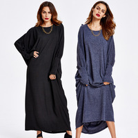 2017 Abaya Clothes Turkey Muslim Knitting Loose Dress Plus Size Turkish Robe Islamic Abayas Women Clothing