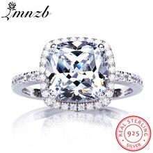 Купить с кэшбэком LMNZB Valentine's Day Gift Authentic 100% 925 Sterling Silver Ring Square Cubic Zirconia Ring Original Wedding Jewelry L-R1688