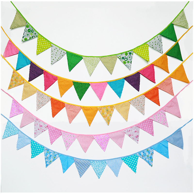 2PCS Colorful Fabric Flag Bunting Garland Cotton Banners For Kids Children Room Wedding Bithday Party Baby Shower Decoration