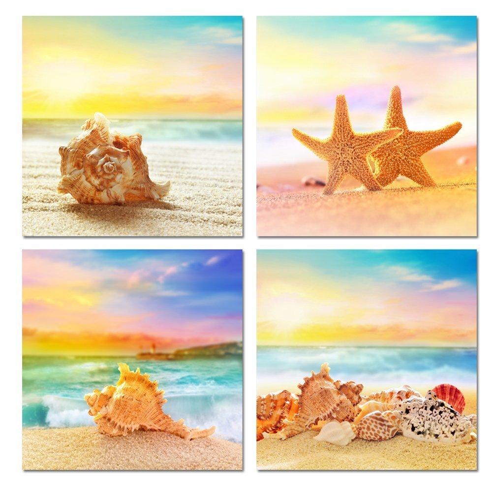 Free Shipping 4pcs Shell Pearl Beach Wall Painting Print