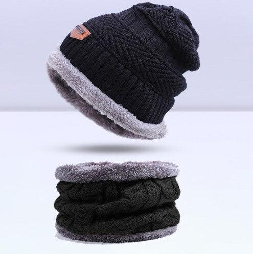Зимняя вязаная шапка, шарф, набор, Мужская однотонная теплая шапка, шарфы, мужские зимние уличные аксессуары, шапки, шарф, 2 штуки - Цвет: Black1