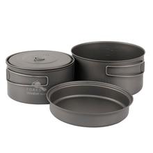 TOAKS Outdoor Camping Titanium Cookware set Three-piece 1350ml+900ml+300ml Pot and Frying Pan Ultralight Portable for Picnic