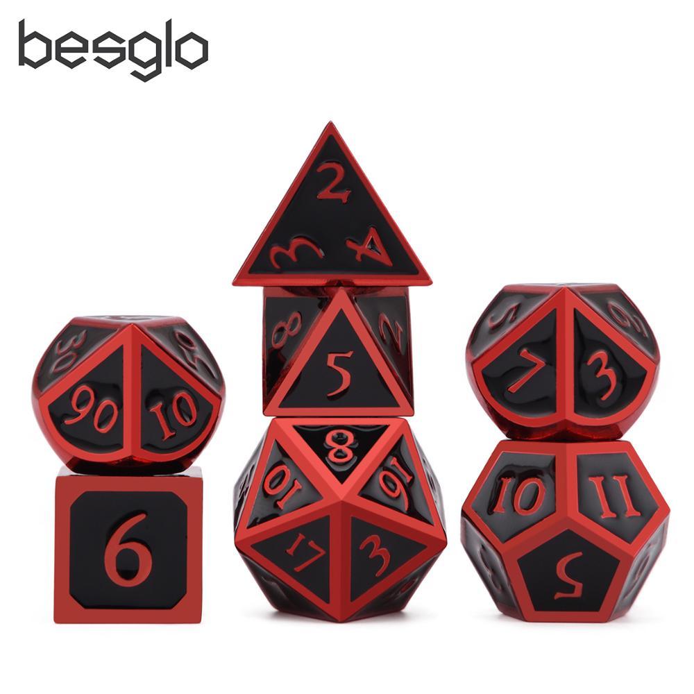 Mistério metal dice vermelho & preto para dungeons e dragões rpg mtg matemática ensino d4 d6 d8 d10 d % d12 d20