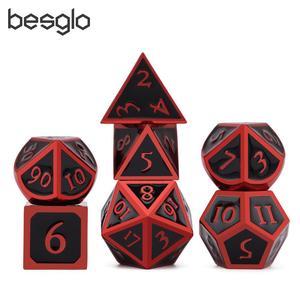 Mystery Metal Dice Red&Black for DND RPG MTG Math Teaching D4 D6 D8 D10 D% D12 D20(China)