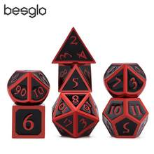 Mistério Metal Dice Red & Black para RPG Dungeons And Dragons MTG Matemática Ensino D4 D6 D8 D10 D % d12 D20(China)