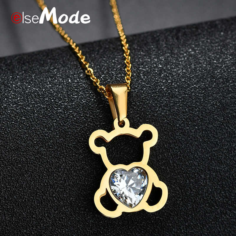 ELSEMODE Hollow Cubic Zircon Bear Chain Necklaces Gold Stainless Steel Animal Necklace For Women Girl  Femme Bijoux