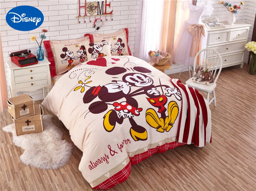 Mickey And Minnie Mouse Comforter Bedding Sets Singletwin Full Queen Bedspreads Disney Cartoon Cotton Baby Girls