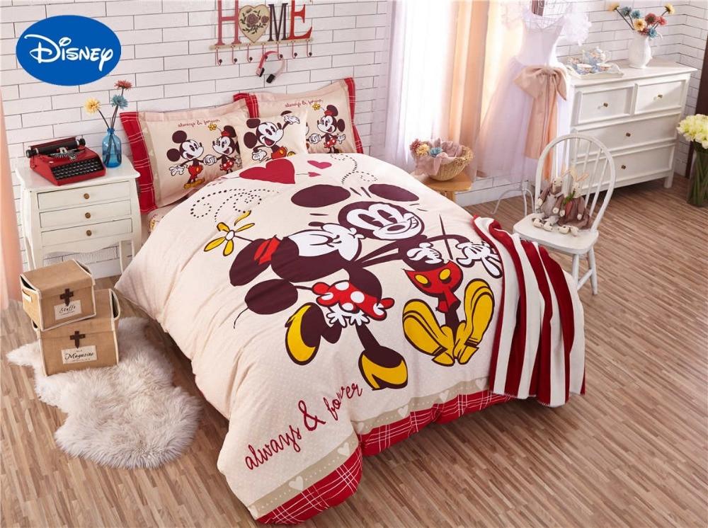 Mickey et Minnie souris couette ensembles de literie SingleTwin complet reine couvre-lits Disney dessin animé coton bébé filles Hoom décor rouge