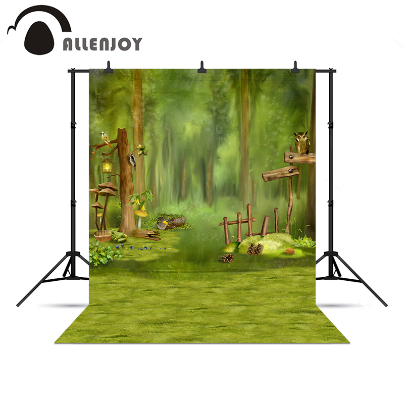 Allenjoy Backgrounds filming Forest green children bird tree fairy tale kids backgrounds for photo studio background vinyl nina stefanovich tale about littleworm book for kids