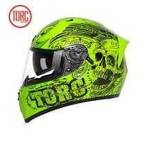 Twin Shield Design Full Face Motorbike Helmet Orginal TORC T18 Motorcycle Helmet With Controllable Internal Sunglasses