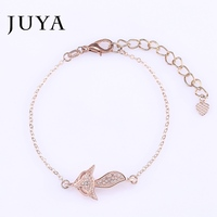 regalos Cute Fox Animal Pendant Charms Anklet Bracelets For Men Women Fashion Micro Pave Zircon Jewelry pulseras de plata