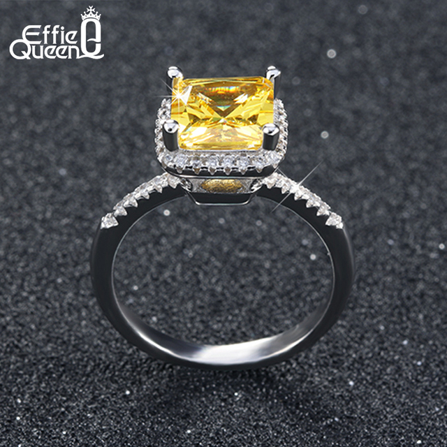 Effie Queen Luxury Princess Cut Yellow CZ Ring with Micro Paved Clear Zircon 3 Layers High Polished Women Engagement Rings DR57