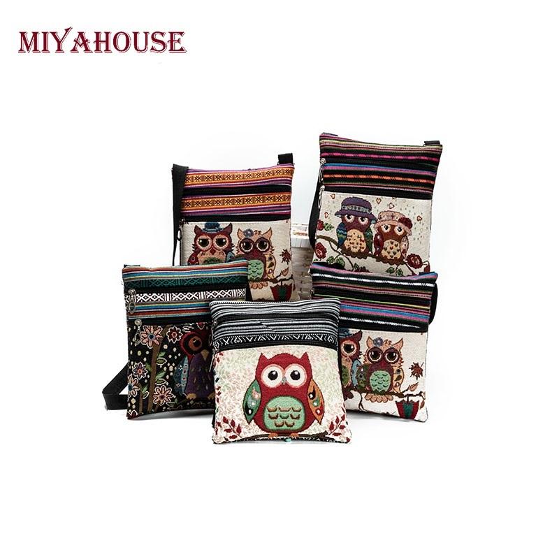 Miyahouse cute lady shoulder bag owl print messenger flap bag female mini canvas ladies bag double zipper ladies messenger bag