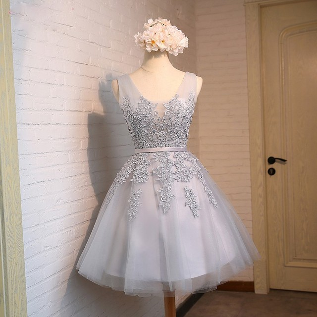 Robe De Soiree Cheap Silver Gray Lace Short Cocktail Dresses Embroidery with Beaded  Fashion Formal Party Dress robe de soiree