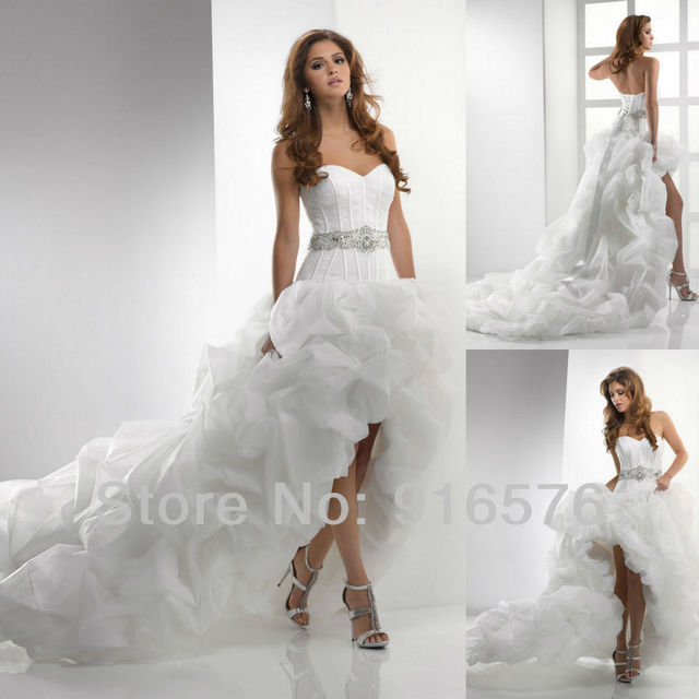 c1ed798883fd Luxury Dress Sweetheart White Sash Ribbon Short In Front Long In Back White  Western Ball Gown Wedding Dresses Bridal Gown