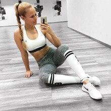 2018 New 62 Digital Printing Two Bars Sporting Legging For Women Gray White Patchwork Fitness Leggings