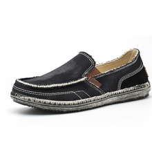 YIGER New Men Loafers Lazy canvas shoes Summer vintage cloth male big size man casual slip-on Latex insole 0314