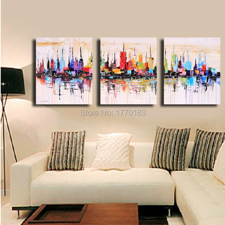 Citys coloring oil painting hand painted abstract wall canvas art 3 ...
