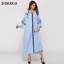 Siskakia Vintage bordado floral maxi vestidos de primavera y otoño de las  mujeres de vestido largo Otoño de 2018 de manga larga . 6a5bb65af55c