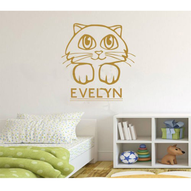 Personalised any name cute kitten kids wall art kitty cat wall sticker decor sticker home decal