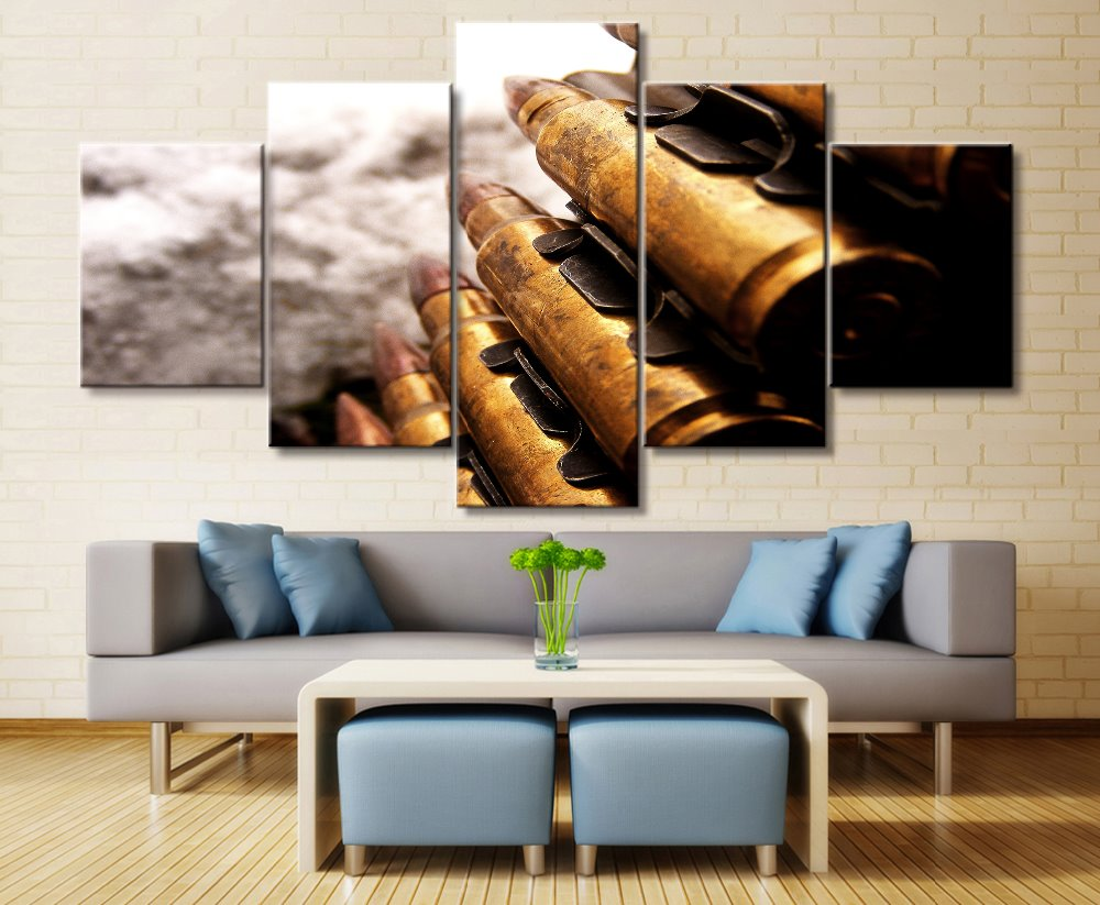. US  9 18 46  OFF 5 panel bullets   weapons   military canvas print painting  living room wall HD decorative picture artwork modern poster frame in