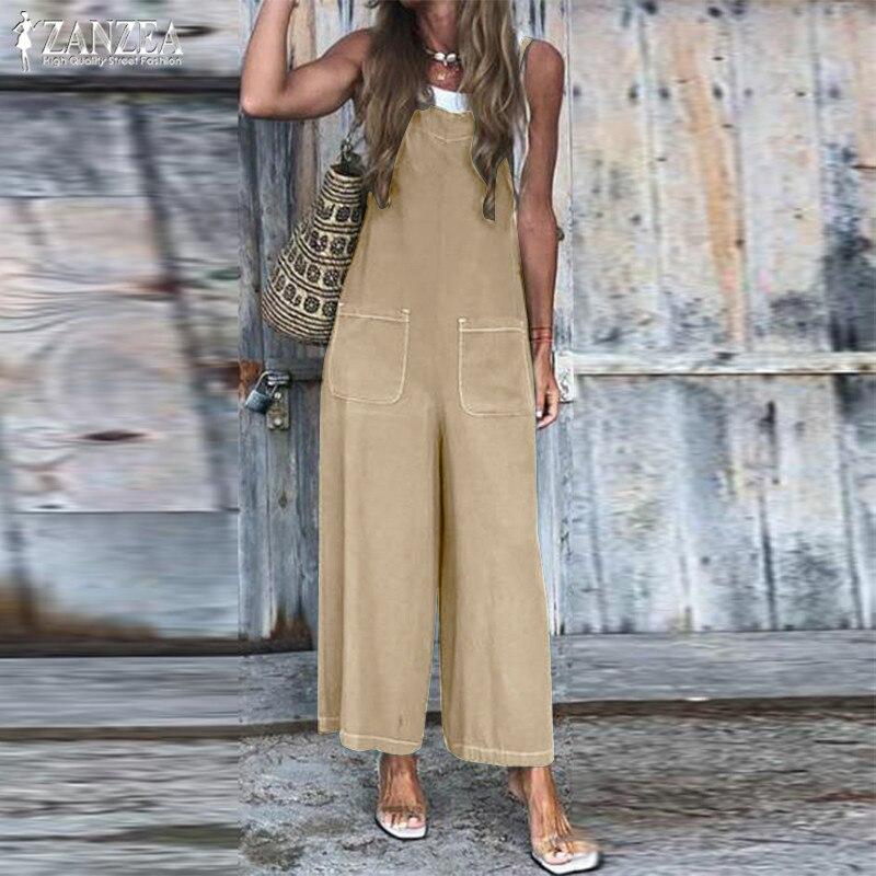 S 5XL ZANZEA Cotton Linen Jumpsuits 2019 Women Long Rompers Summer Straps Wide Leg Overalls Solid Party Playsuits Pants Female