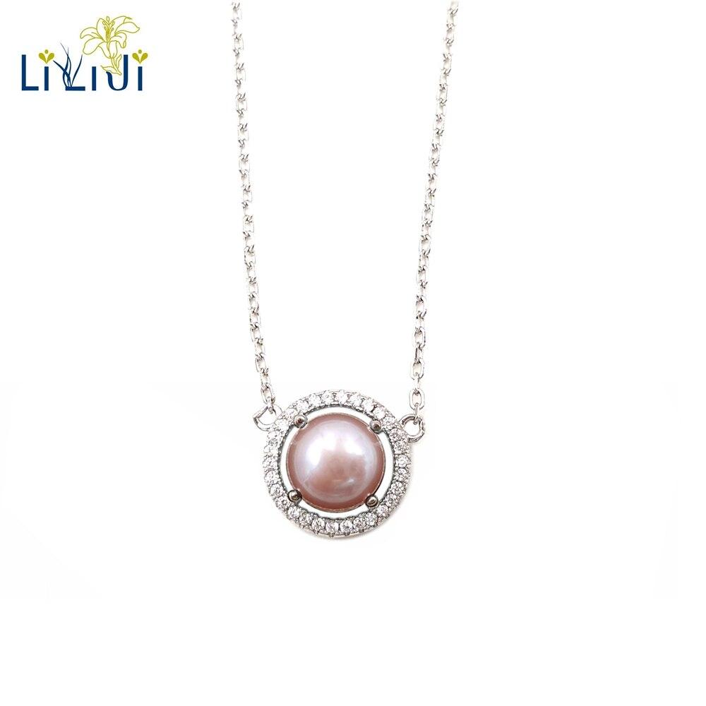 Lii Ji violet rose perle d'eau douce 925 argent Sterling brillant pendentif collier ras du cou