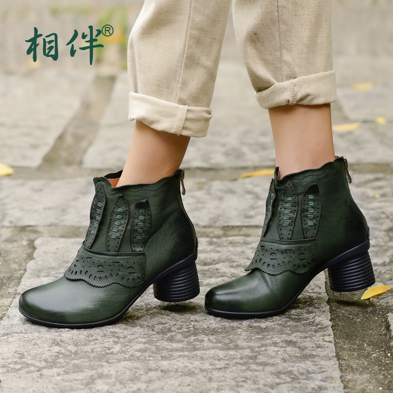 2016 Vintage genuine leather boots font b women b font high heeled boots spring autumn winter