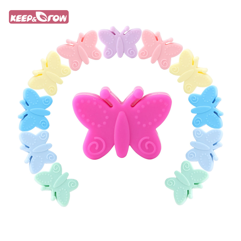 10Pcs 30mm Silicone Beads Butterfly Teething Beads For Jewelry DIY Making Bead BPA Free Silicone Baby Teething Necklace Toy
